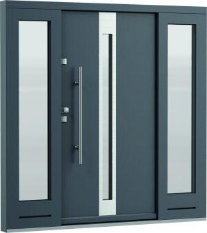 durys internetu, faneruotos, natūralaus ąžuolo lukšto, Eco Polar, stiklo intarpas, mėlynos