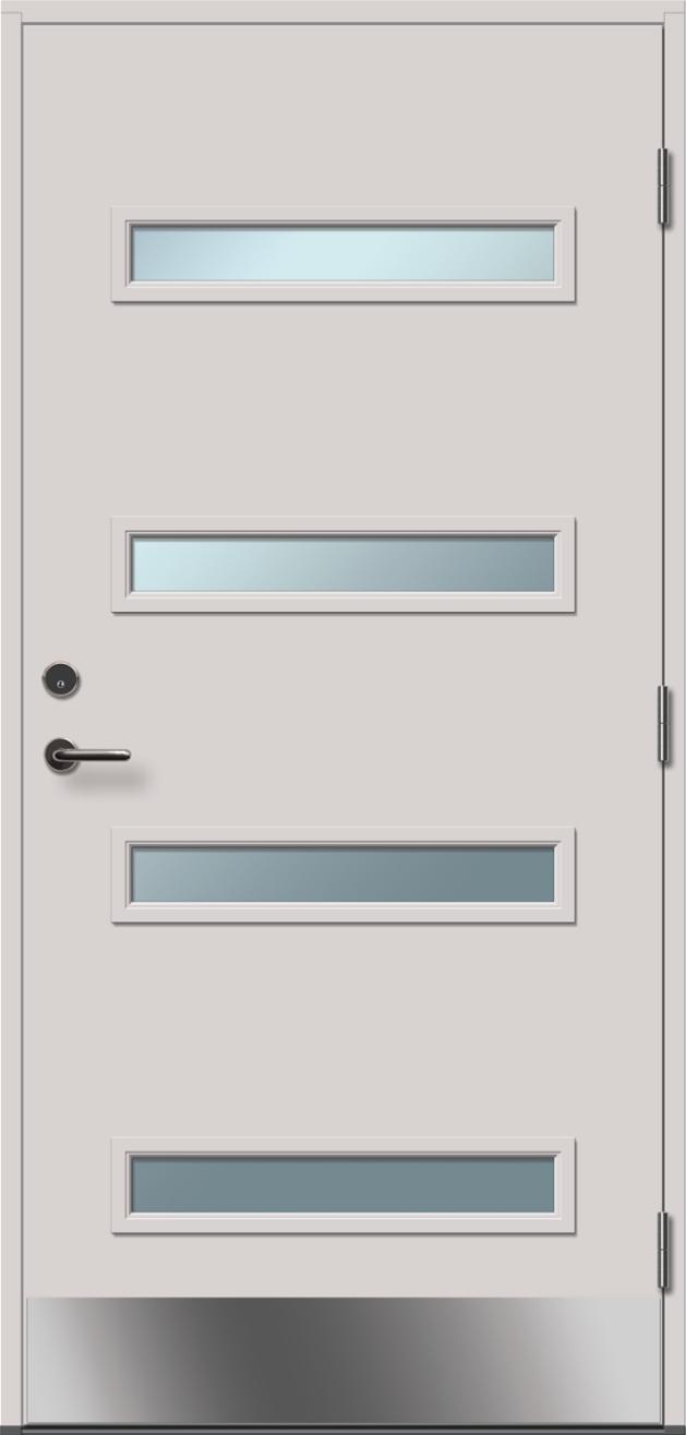 baltos, dažytos, lauko durys, stiklo intarpas, Brando