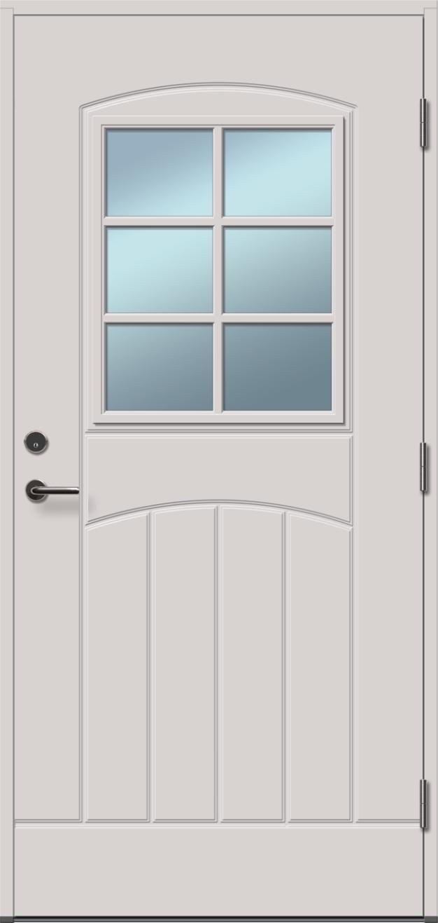 baltos, dažytos, lauko durys, stiklo intarpai, Gracia